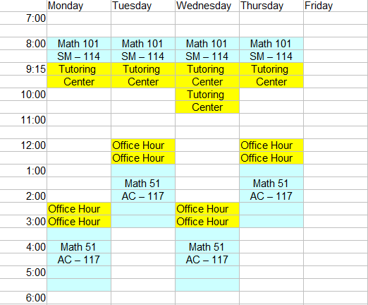 my schedule timetable